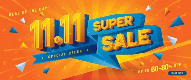 1111 shopping day super sale banner template offre spéciale remise en-tête de triangle bleu abstrait