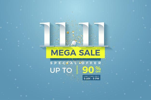 1111 vente et grosse remise avec des chiffres sur fond de ciel bleu