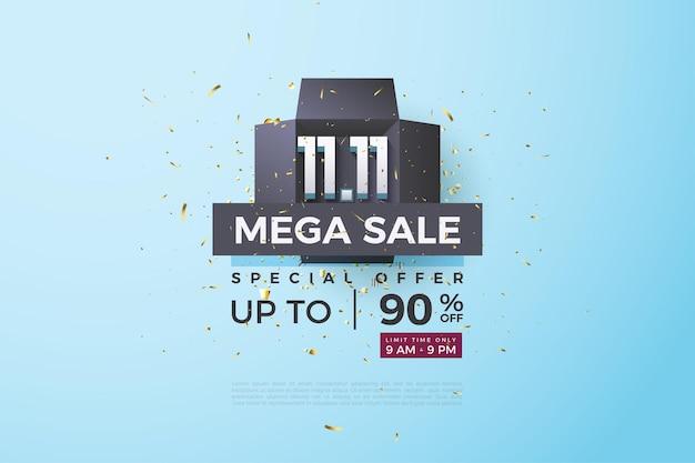 1111 vente et grosse remise avec un numéro au milieu de la boite noire