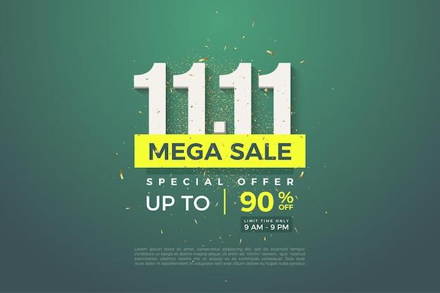 1111 vente avec remise sur fond de feuille verte