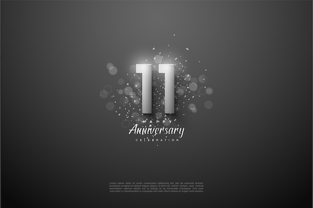 11e anniversaire avec des chiffres en argent 3d.