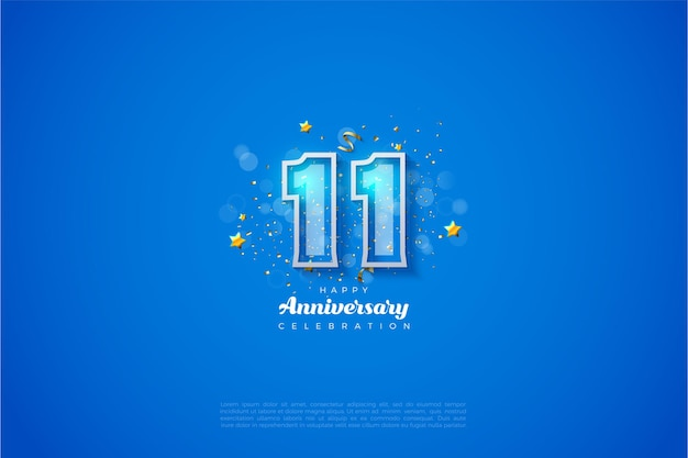11e anniversaire avec des chiffres bordés de blanc gras sur fond bleu.