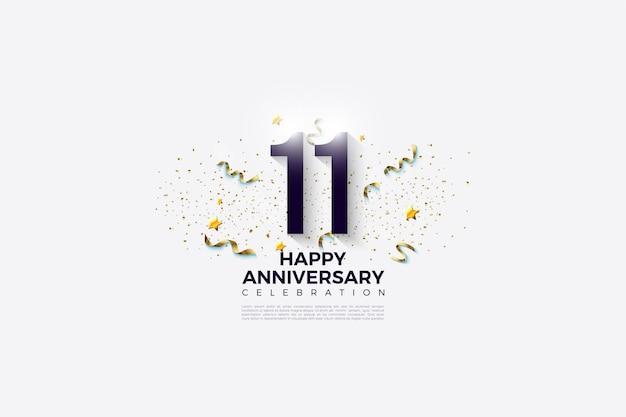 11e anniversaire avec des chiffres et des confettis sur un fond blanc propre.