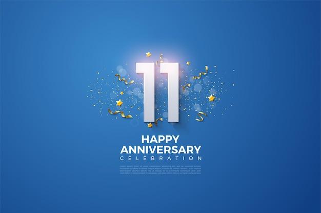 11e anniversaire avec des chiffres ombragés et couverts par des points d'effet lumineux.