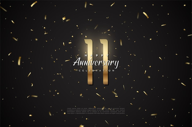 11e anniversaire avec des confettis dorés