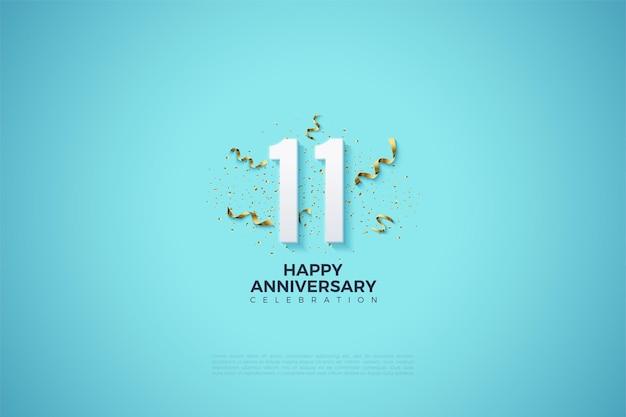 11e anniversaire avec une fête festive derrière les chiffres.