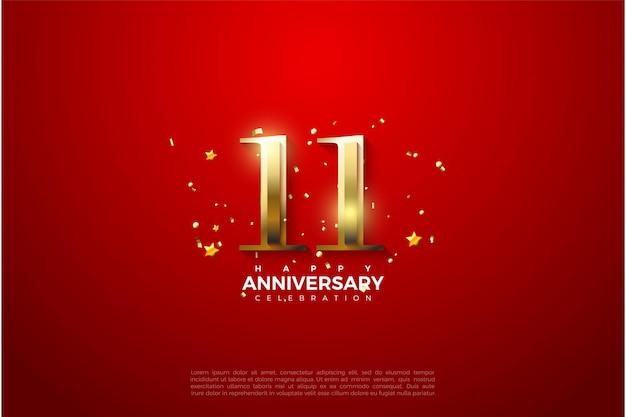 11e anniversaire avec illustration de chiffres dorés brillants.