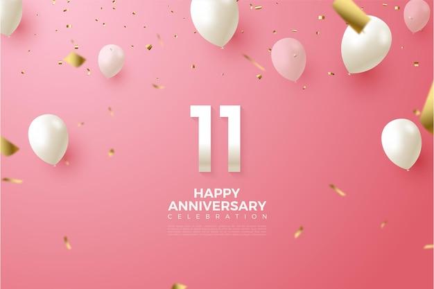 11e anniversaire avec illustration de nombres et de ballons blancs volant.