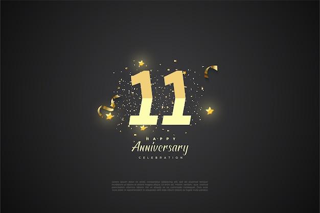 11e anniversaire avec illustration de nombres classés et de petites étoiles brillantes.