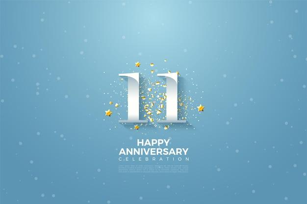 11e anniversaire avec numéro illustration contre un ciel bleu clair.