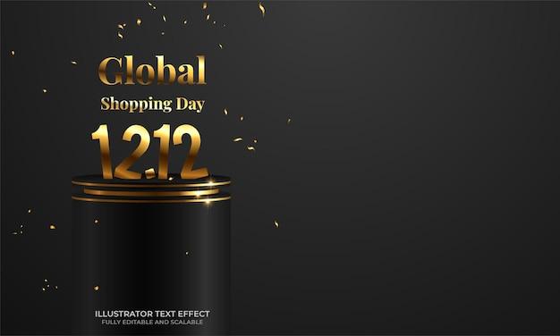 12.12 bannière de vente de festival de shopping avec des confettis d'or