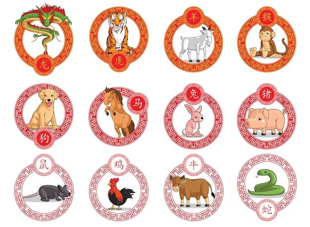 12 animaux zodiaque chinois cadre ornemental nouvel an lunaire isolé sur