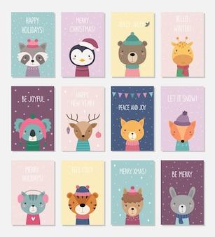 12 cartes postales avec des animaux de noël
