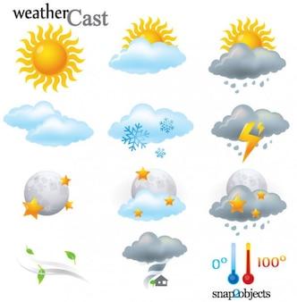 12 éléments vectoriels météo cast