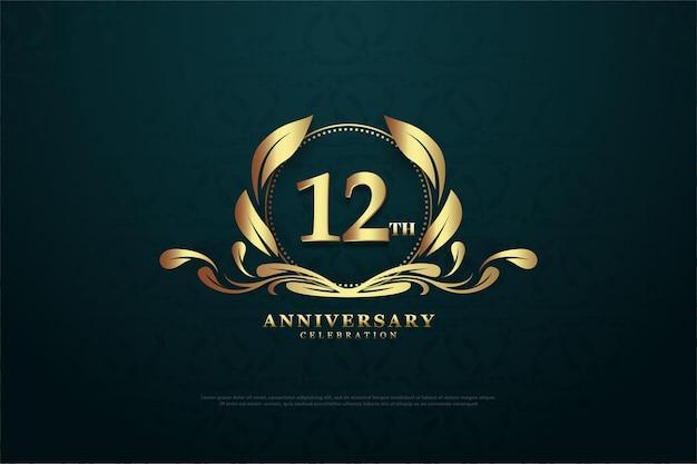 12e anniversaire avec des chiffres dans des symboles charmants
