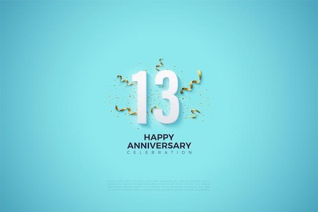 Le 13e anniversaire avec des bibelots de fête ornant les numéros.