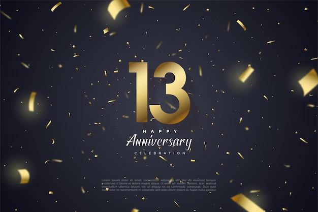 13e anniversaire avec chiffres et feuille d'or.