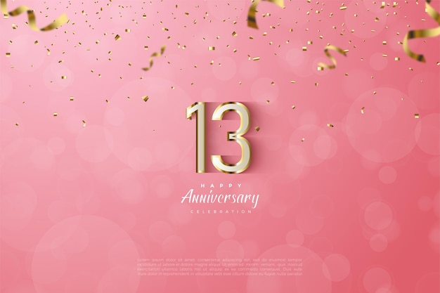 13e anniversaire avec des chiffres et des lettres en or de luxe.