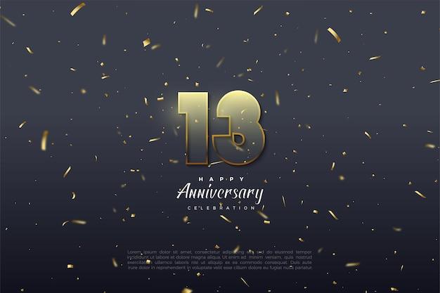 13e anniversaire avec des chiffres transparents bordés de brun doré.