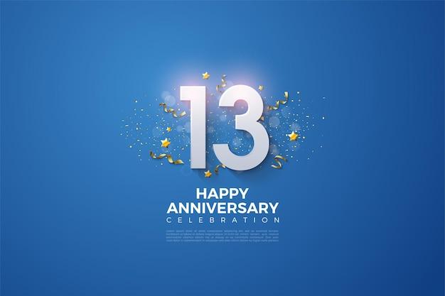 13e anniversaire avec et fête festive sur fond bleu.