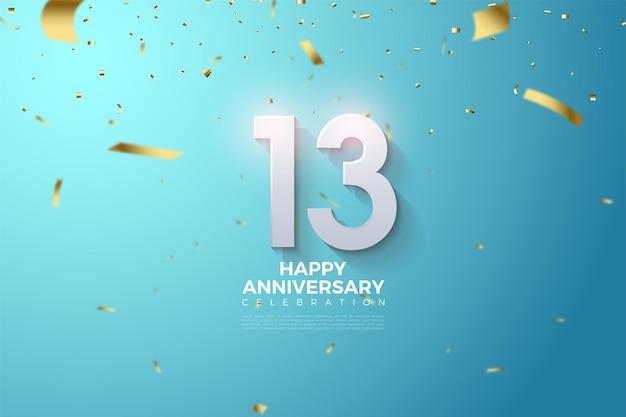 13e anniversaire avec illustration de chiffres 3d légèrement ombrés et feuille d'or.