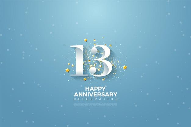 13e anniversaire avec illustration de nombres sur ciel bleu.