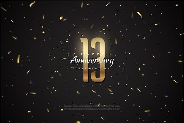 13e anniversaire avec illustration de nombres et de points dorés.