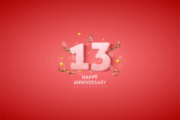 13e anniversaire avec illustration de numéro blanc doux.