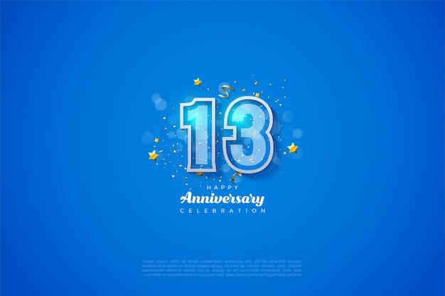 13e anniversaire avec illustration de numéro de graffiti moderne sur fond bleu.