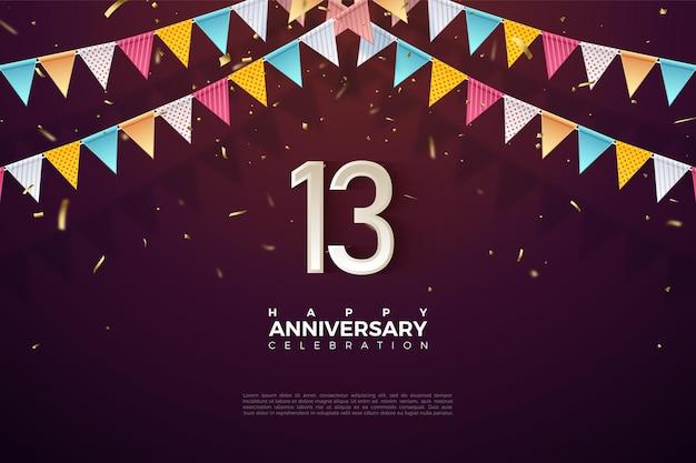 13e anniversaire avec illustration numéro sous des drapeaux colorés.