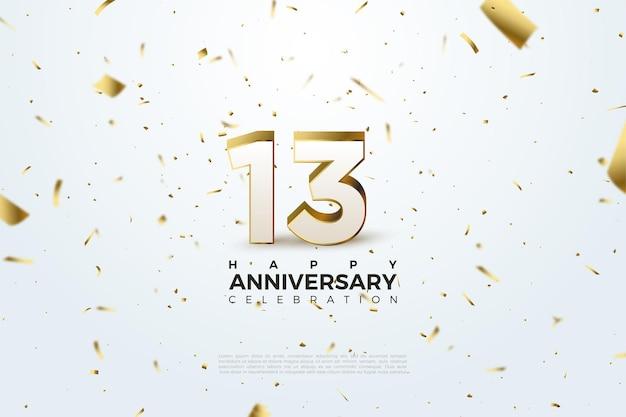 13e anniversaire avec des nombres dispersés et des illustrations en feuille d'or.