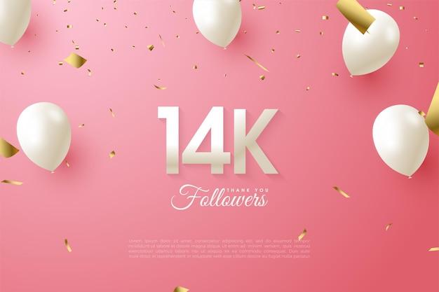 14 000 abonnés avec des chiffres et des ballons