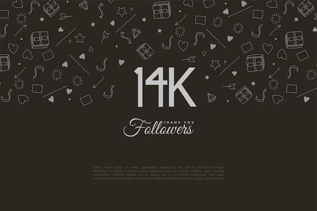 14 000 abonnés avec des chiffres blancs sur fond noir
