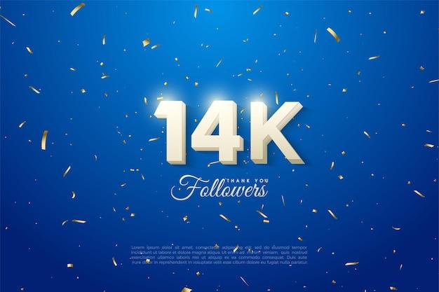 14 000 abonnés avec des chiffres blancs en gras sur fond bleu