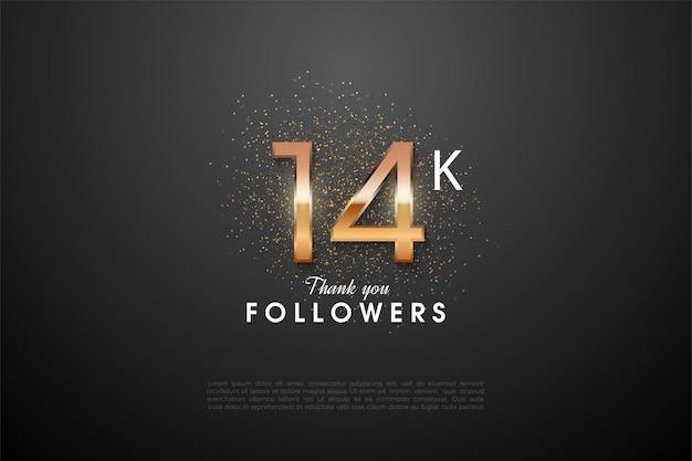 14 000 abonnés avec des chiffres brillants dans le noir