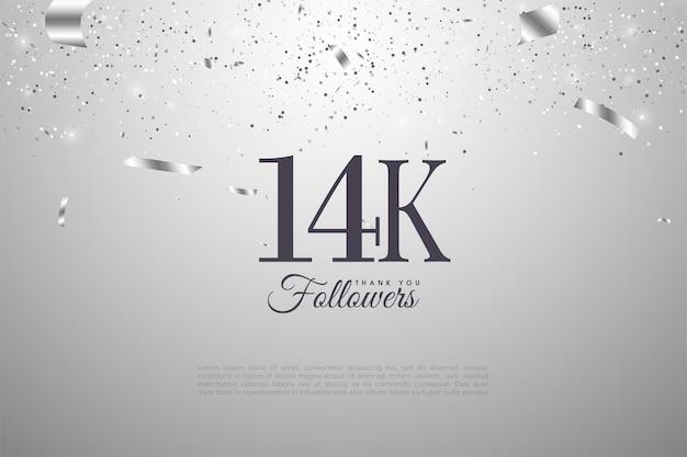 14 000 abonnés avec des chiffres sur fond argenté