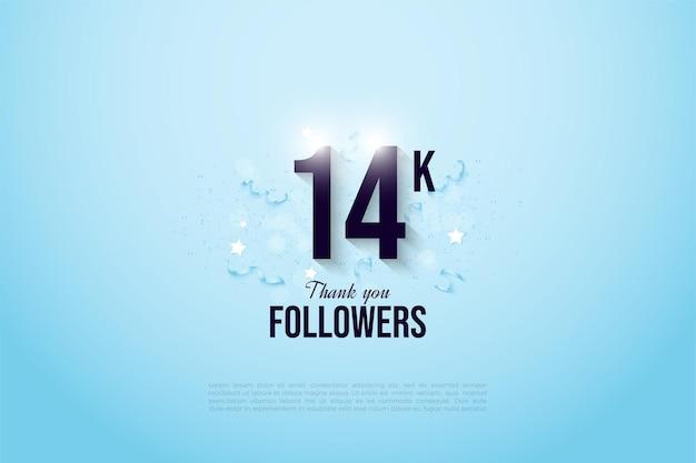 14 000 abonnés avec des chiffres sur fond bleu brillant