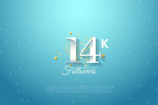 14 000 abonnés avec des chiffres sur fond bleu