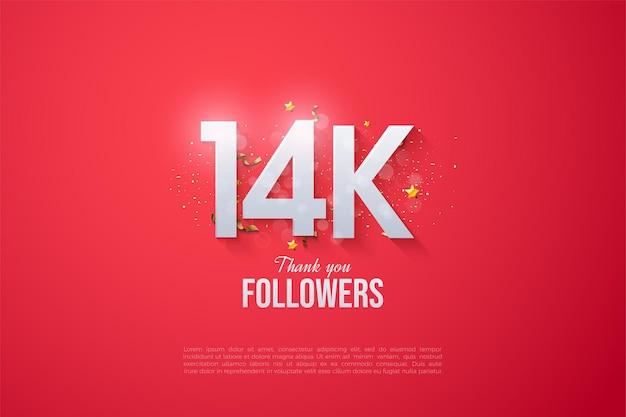 14 000 abonnés avec un design de nombres fantaisiste