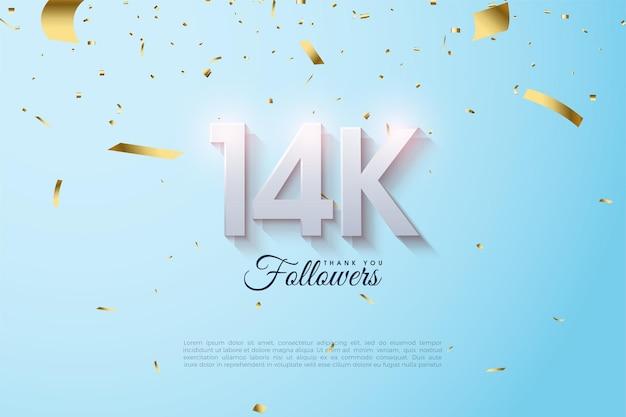 14 000 abonnés avec des nombres ombrés