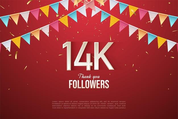 14 000 abonnés avec des numéros sous des drapeaux colorés