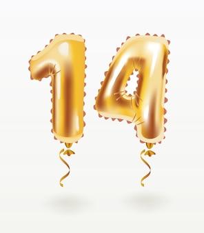 14 ans d'anniversaire de ballon en papier d'aluminium doré