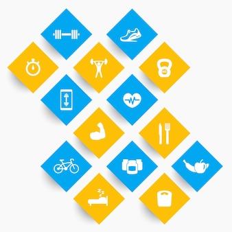 14 fitness, icônes de gym, exercice, pictogrammes de formation sur des formes rhombiques, illustration vectorielle