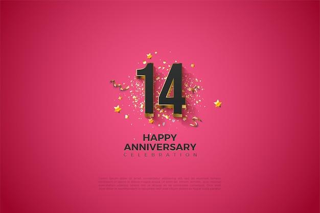 14e anniversaire avec chiffres plaqués or.