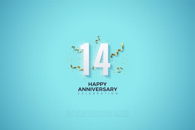 Le 14e anniversaire avec une fête festive qui orne les numéros.