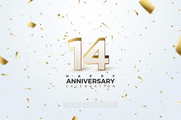 14e anniversaire avec des nombres et des papiers d'or dispersés.