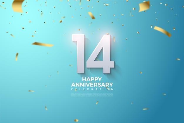 14e Anniversaire Avec Des Nombres En Trois Dimensions Qui Surgissent. Vecteur Premium