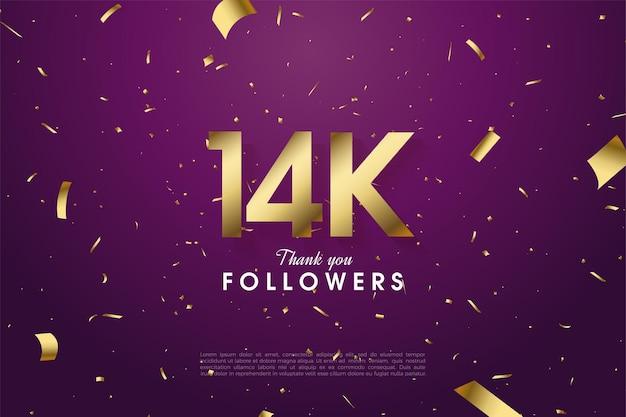 14k adeptes avec des chiffres et une feuille d'or sur fond violet