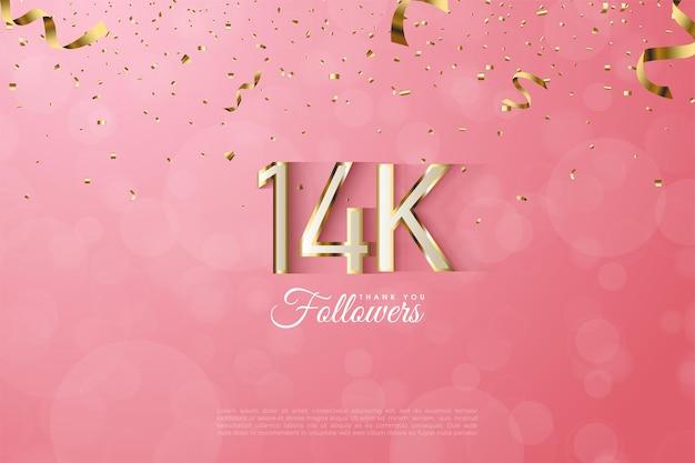 14k followers avec des chiffres fantaisie bordés d'or
