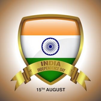 15 août, jour de l'indépendance de l'inde en insigne en or avec ruban